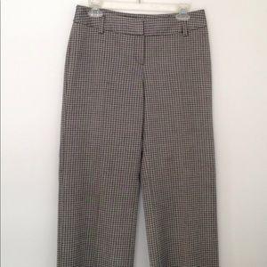 6 WHBM Gray Print Pants Flat Front Trousers